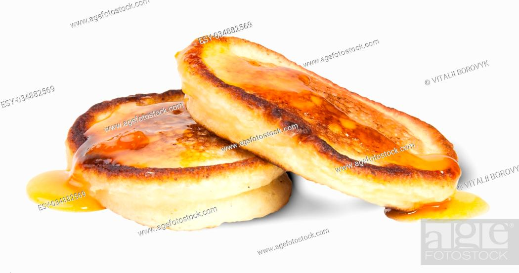 Stock Photo: Two Sweet Pancakes With Maple Syrup Isolated On White Background.