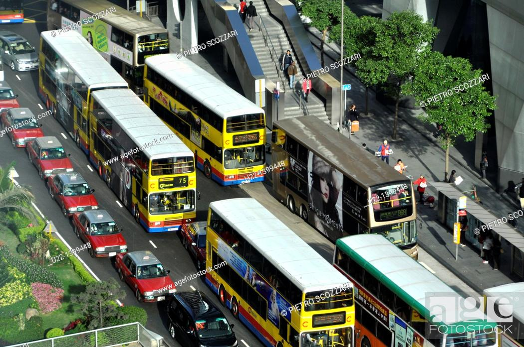 Stock Photo: Hong Kong: urban traffic in Central.