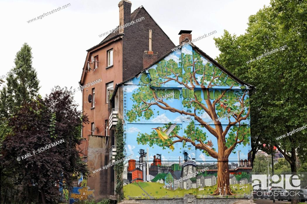 Stock Photo: Old house about to be demolished, wall painted with a tree in an industrial landscape, Bruckhausen district, Duisburg, North Rhine-Westphalia, Germany, Europe.