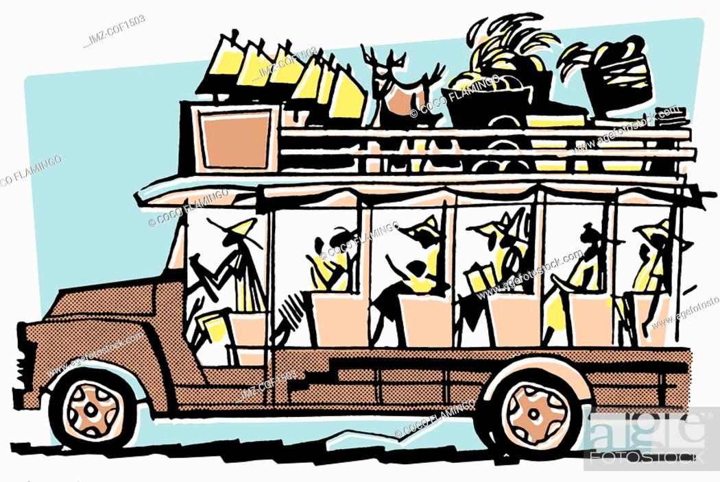 Stock Photo: A vintage illustration of a bus filled to the brim.