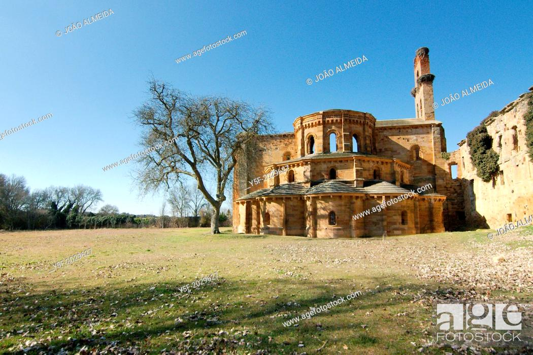 Stock Photo: Ruins of the Santa María de Moreruela monastery.