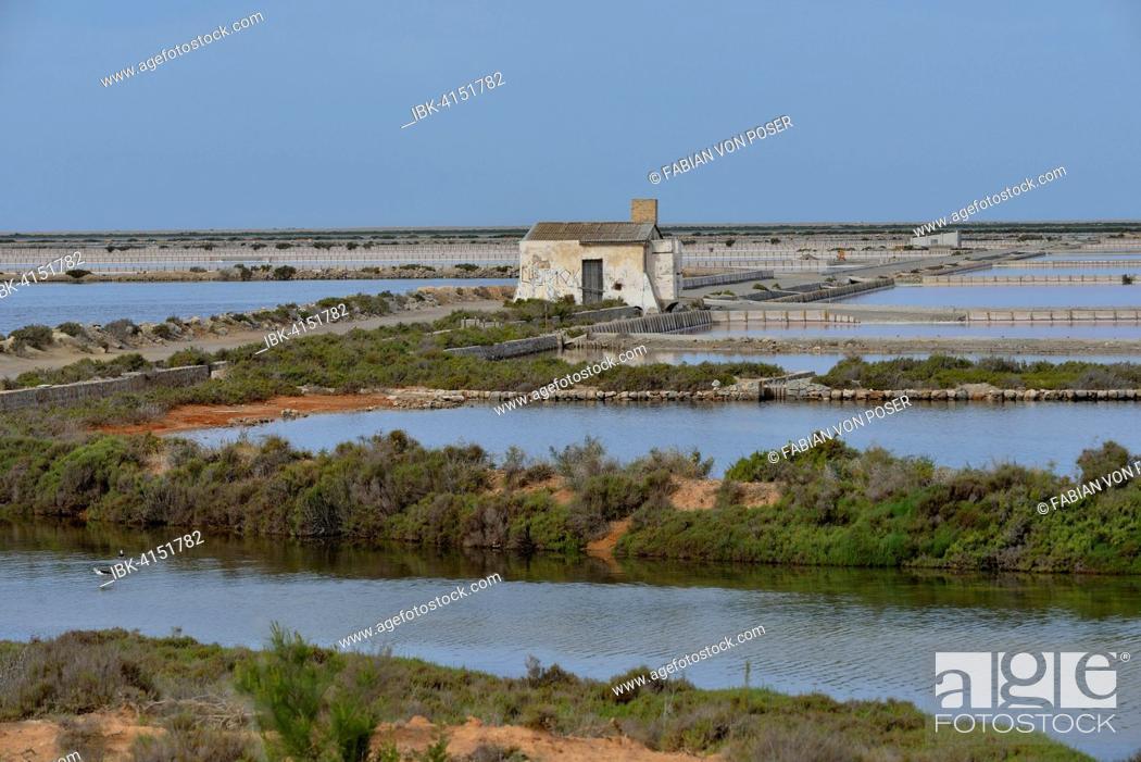 Photo de stock: Ses Salines saltworks, near Sant Francesc d'Estany, Ibiza, Balearic Islands, Spain.