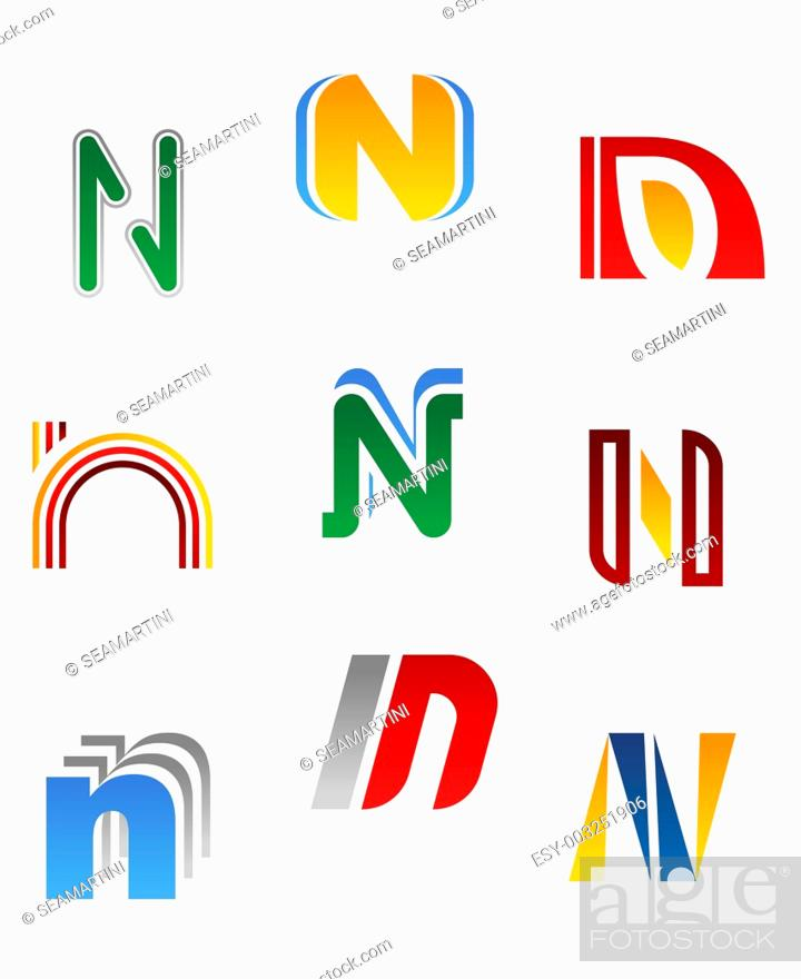Stock Photo: Set of alphabet symbols and elements of letter N.