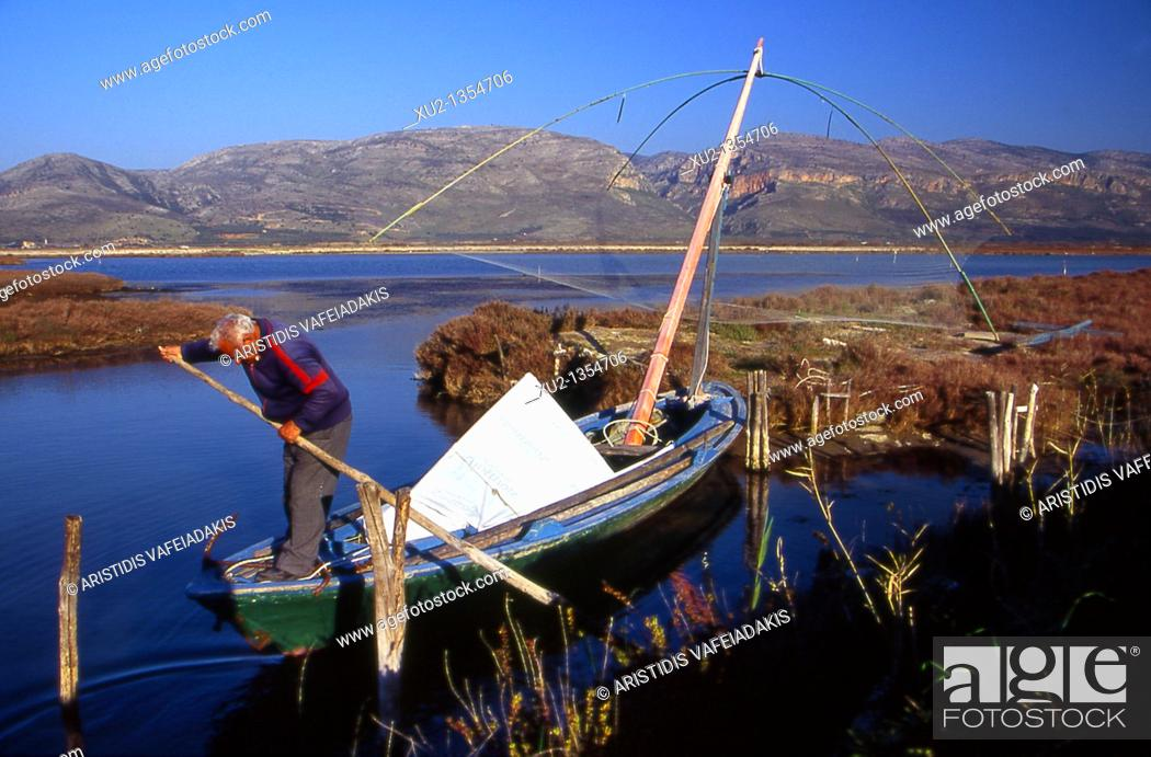Stock Photo: Greek fisherman at Missolonghi lagoon Greece.