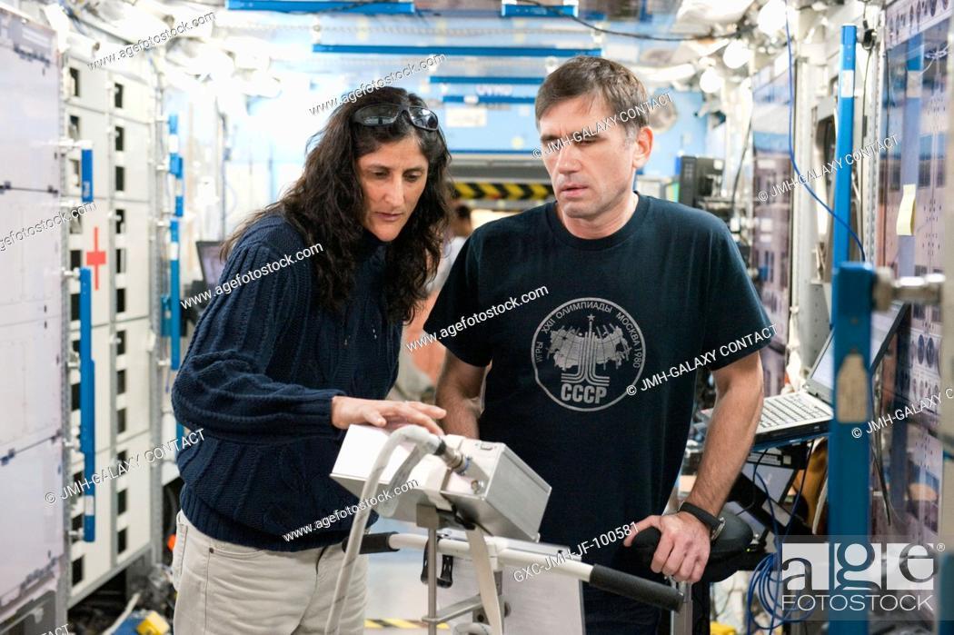 Stock Photo: NASA astronaut Sunita Williams, Expedition 32 flight engineer and Expedition 33 commander; and Russian cosmonaut Yuri Malenchenko.