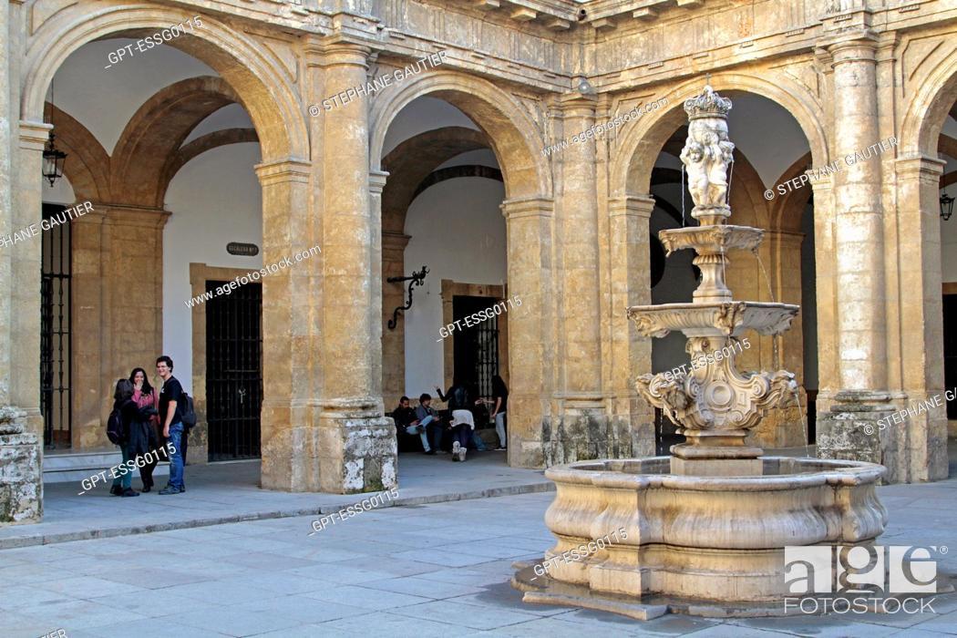 Stock Photo: UNIVERSITY OF SEVILLE, INNER COURTYARD, SEVILLE, ANDALUSIA, SPAIN.