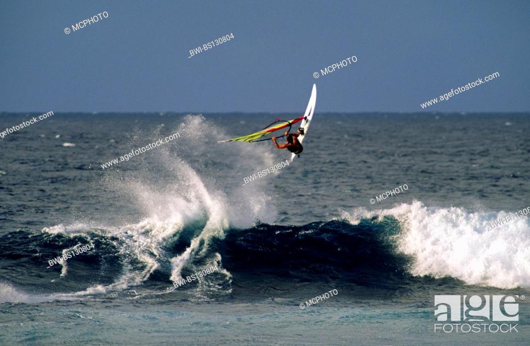 Stock Photo: windsufer demonstrates great skill at HOOKIPA BEACH PARK, Hawaii, Maui.