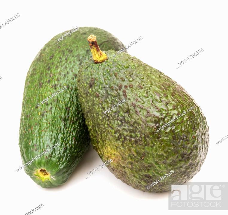 Stock Photo: Avocados isolated on white background.