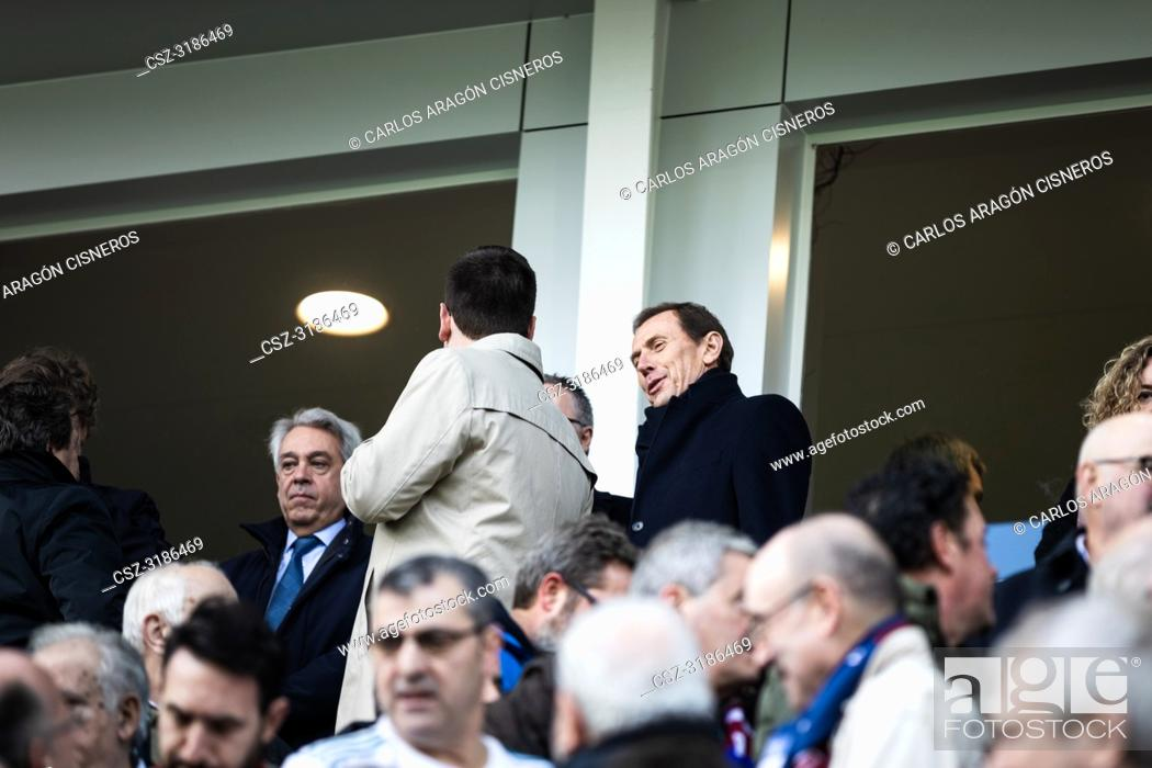 Stock Photo: Emilio Butragueño, former player and now director of Institutional Relations Manager of the Real Madrid, in the box during the La Liga match between Eibar and.
