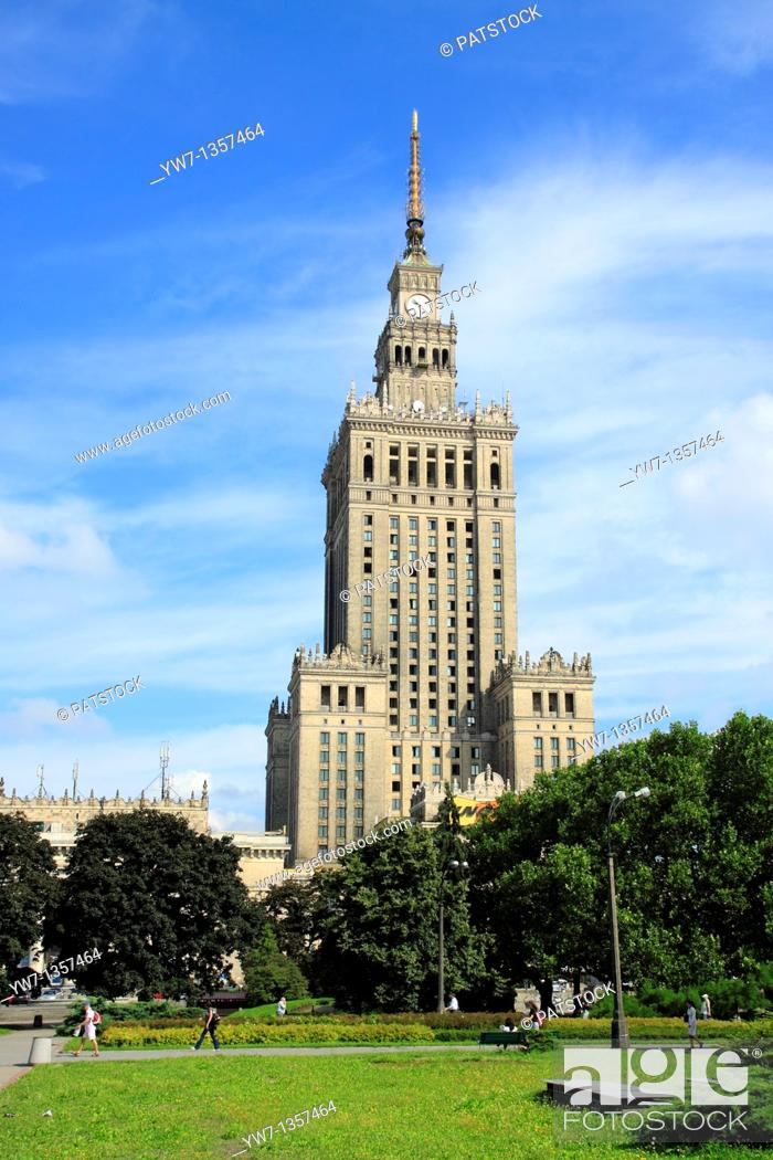 Stock Photo: Palace of Culture and Science the most visible landmark of Warsaw, Poland.