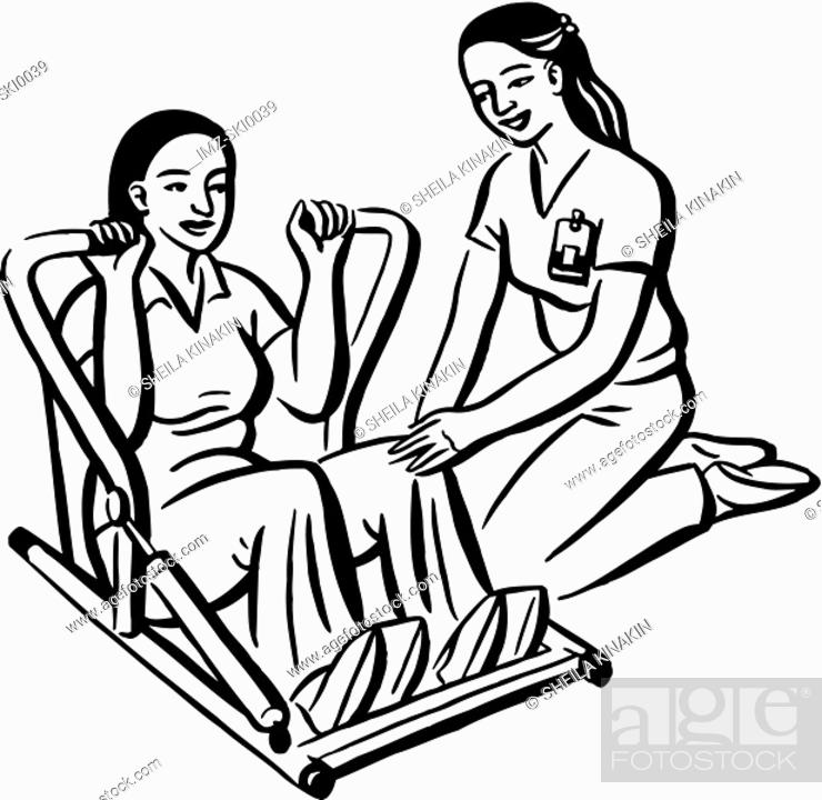 Stock Photo: A patient doing physical therapy.