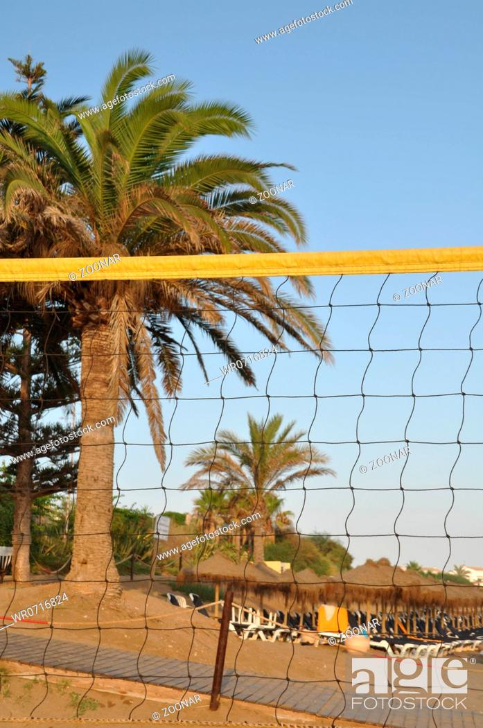 Stock Photo: gorgeous beach volleyball arena during sunset.