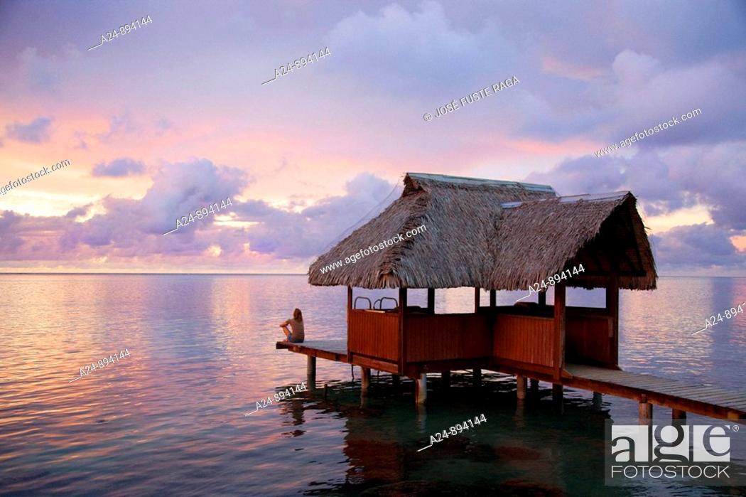 Stock Photo: Sunset, Moorea, Society Islands, French Polynesia (May, 2009).