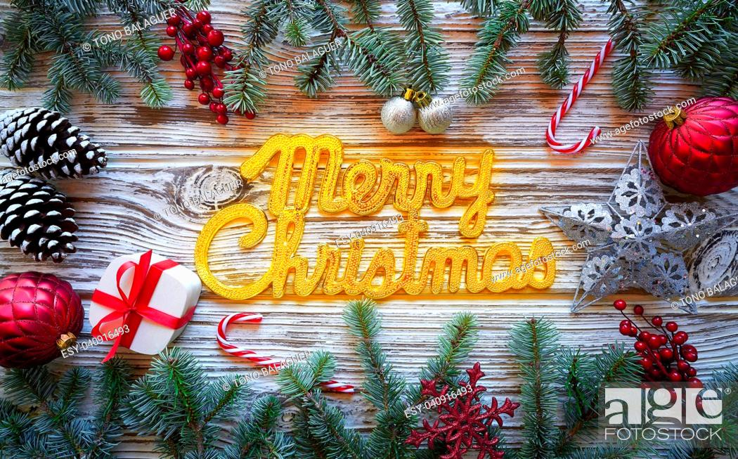 Stock Photo: Merry Christmas spell word on white wood background.