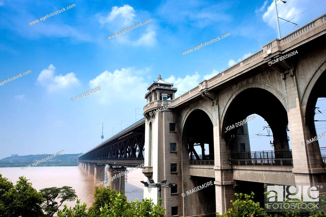 Stock Photo: China, Hubei Province, Wuhan, Wuchang, Wuhan Yangtze River Bridge.