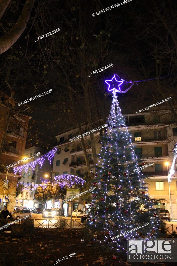 stock photo rome italy 17th december 2014 christmas lights and decorations in piazza carlo