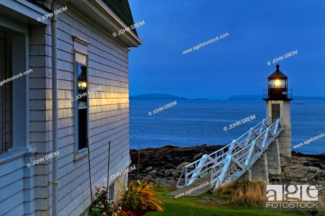 Stock Photo: Marshall Point Light Station, Port Clyde, Maine, USA  Est  1832.