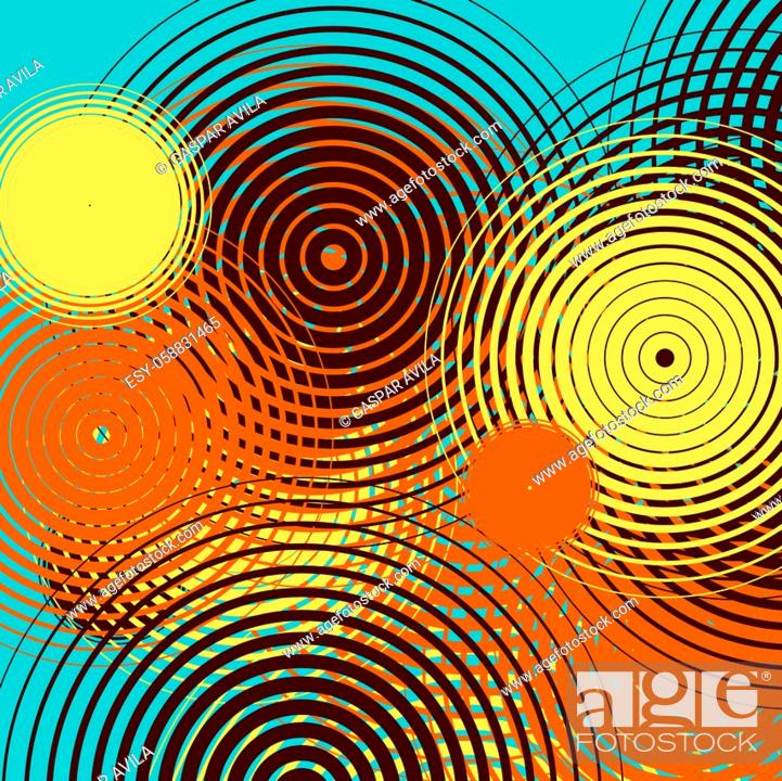 Stock Vector: Graphic design with colorful ripples on a teal color background. Algorithmic digital art.