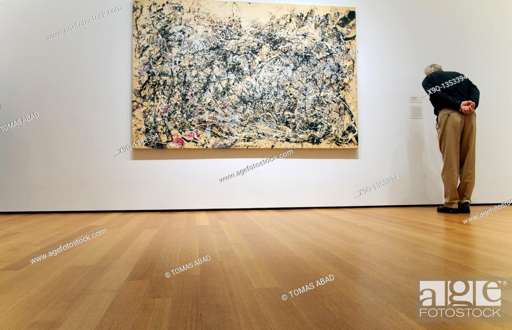 Stock Photo: Number 1A, 1948, by Jackson Pollock American, 1912-1956, Oil and enamel paint on canvas, 68' x 8' 8' 172 7 x 264 2 cm, MOMA, New York City,.