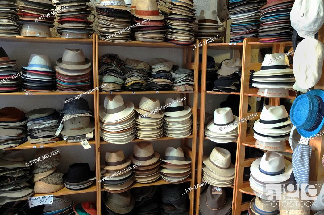 Stock Photo: Hats for sale in a hat shop.