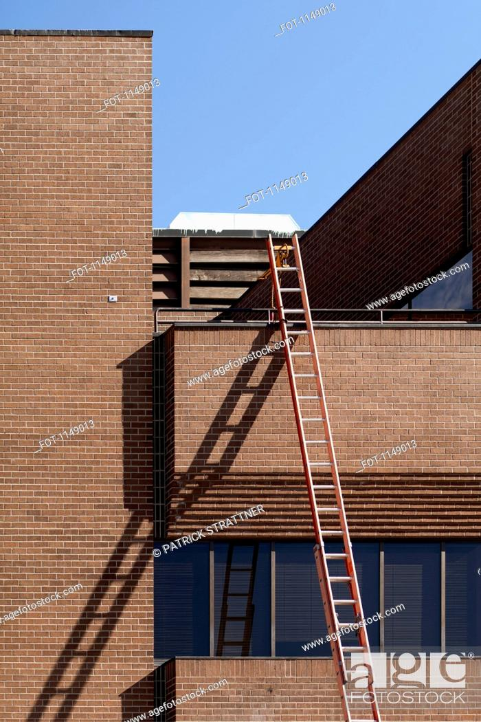 Stock Photo: A ladder leaning against a building.