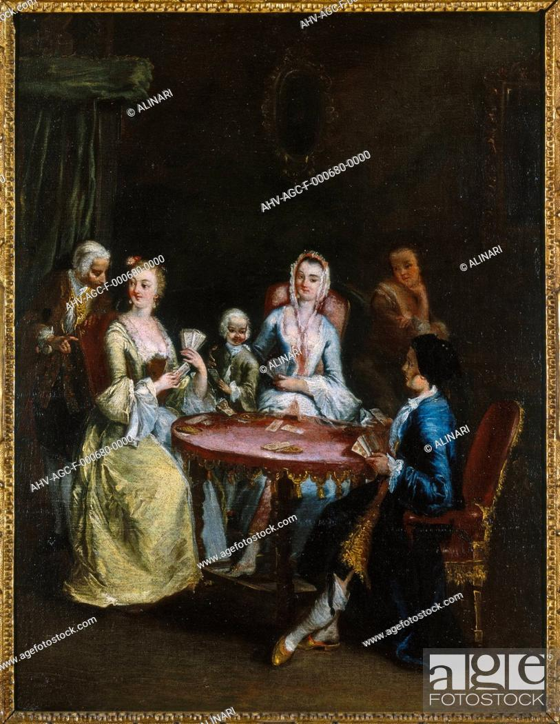 Stock Photo: Painting by Pietro Longhi entitled 'The card game', in the Museo Correr in Venice (XVIII century), shot 1992 by Magliani, Mauro for Alinari.