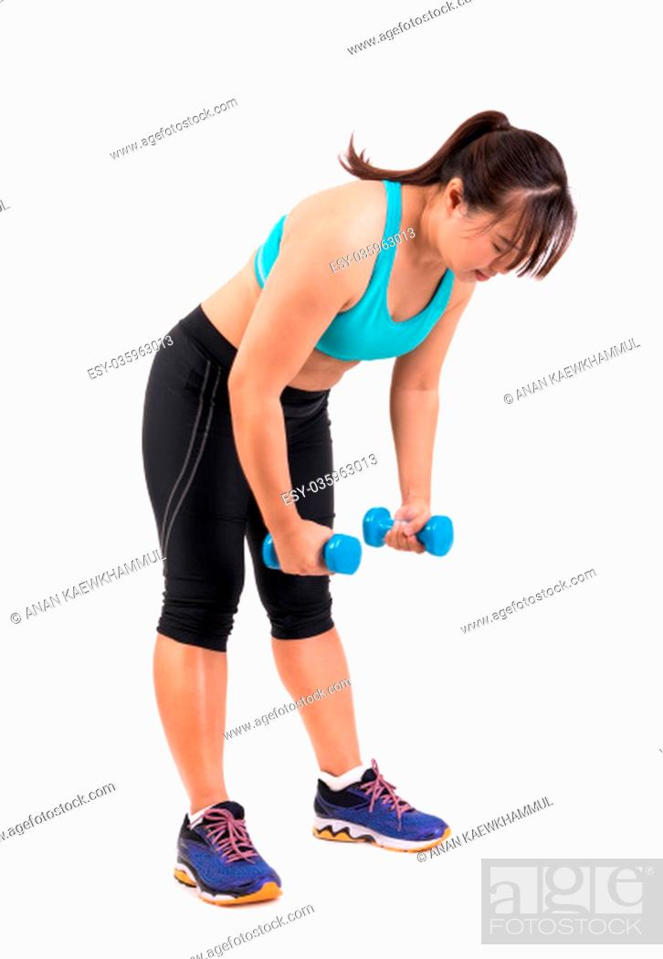 Stock Photo: asian chubby woman holding dumbbell for exercising.