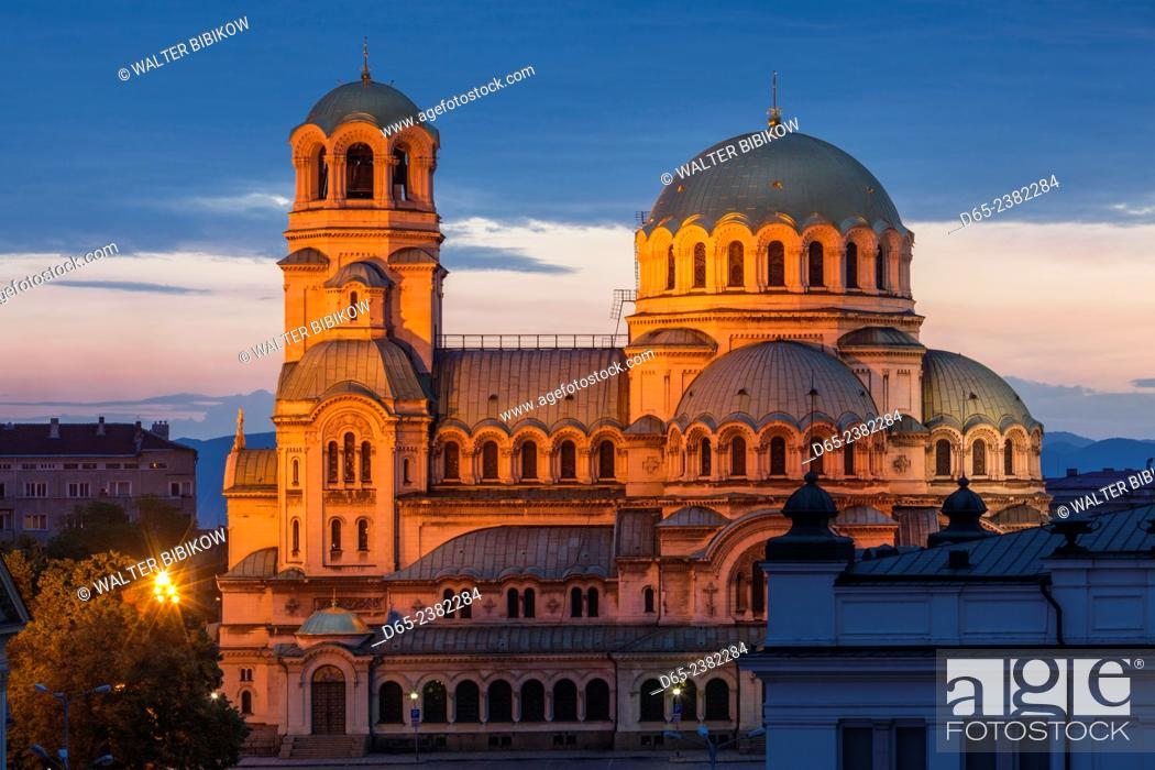 Stock Photo: Bulgaria, Sofia, Ploshtad Alexander Nevski Square, Aleksander Nevski Church, elevated view, dawn.