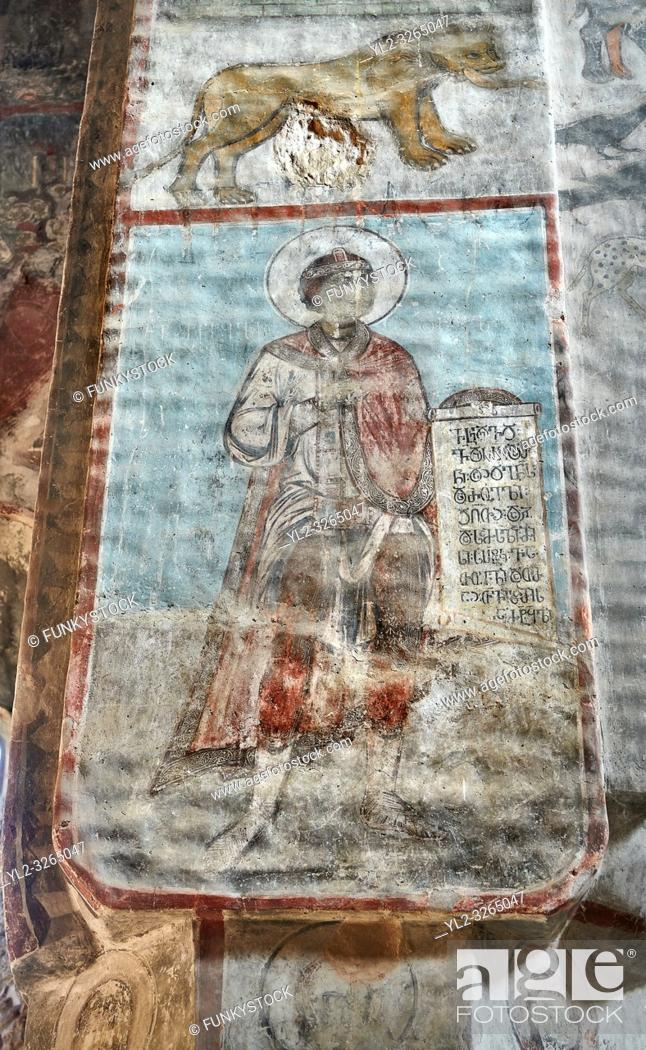 Photo de stock: Pictures & imagse of the interior frescoes of the Timotesubani medieval Orthodox monastery Church of the Holy Dormition (Assumption).