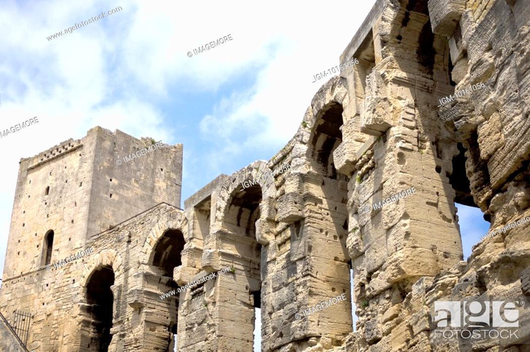 Stock Photo: Antique Roman amphitheater's in Arles, Provence-Alpes-Cote d'Azur, France.