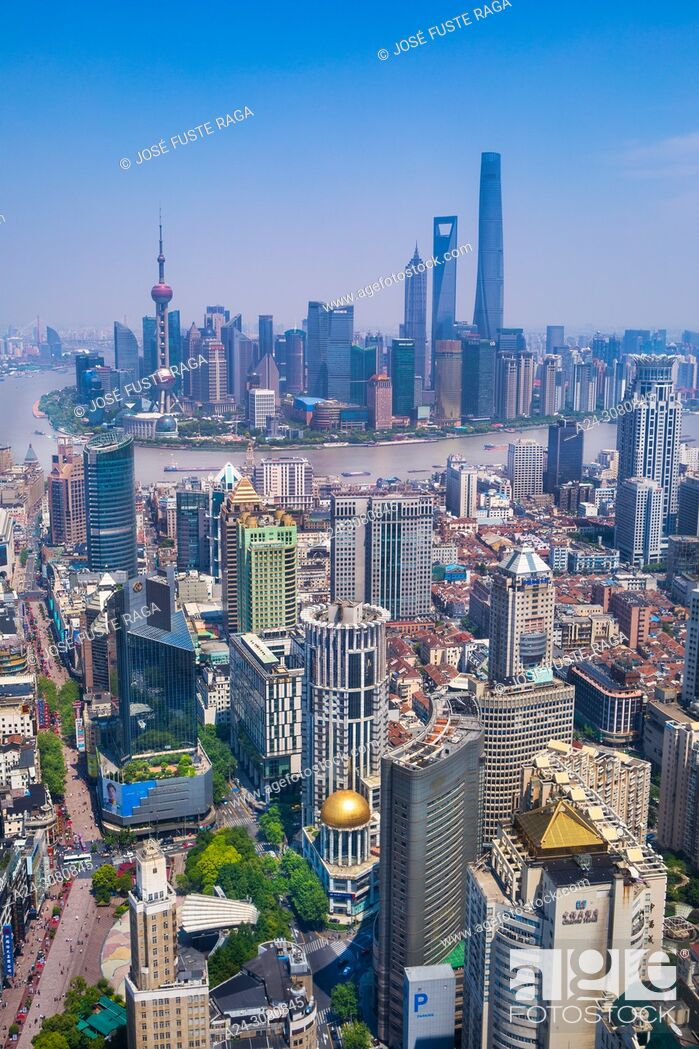 Stock Photo: China, Shanghai City, Nanjin Lu,Pudong District, Lujiazui Area, Jin Mao Bldg. ,World Financial Center and Shanghai Tower.