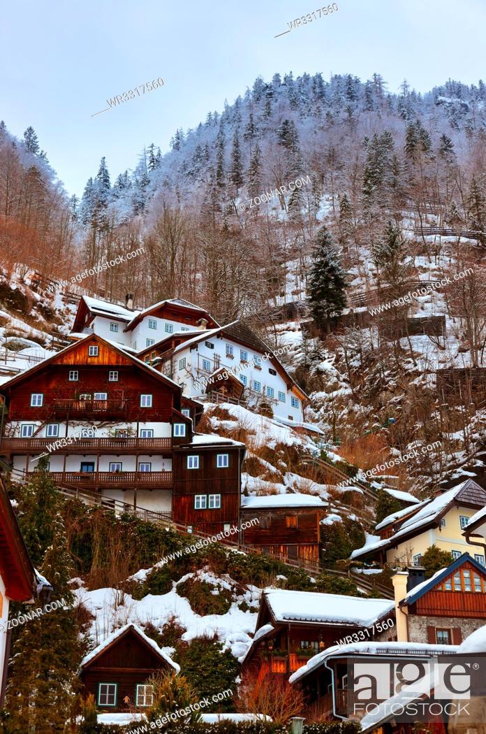 Stock Photo: Village Hallstatt on the lake Hallstatter at winter - Salzburg Austria.