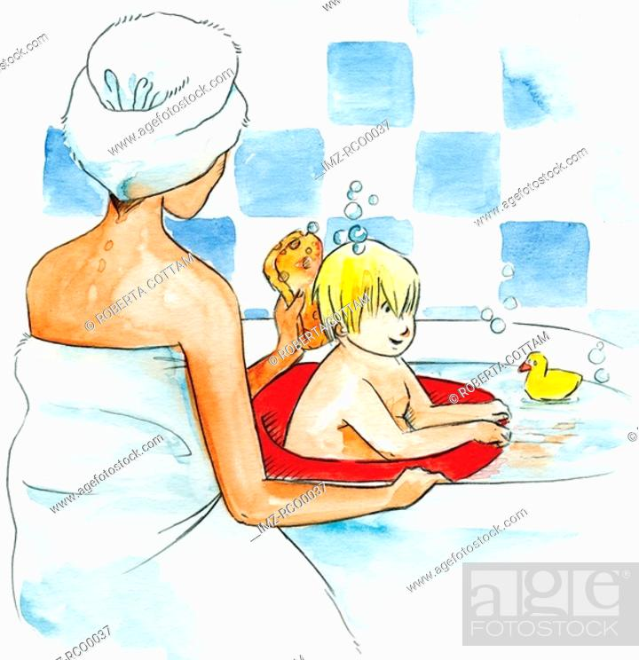 Stock Photo: A mother bathing her son in the bathtub.