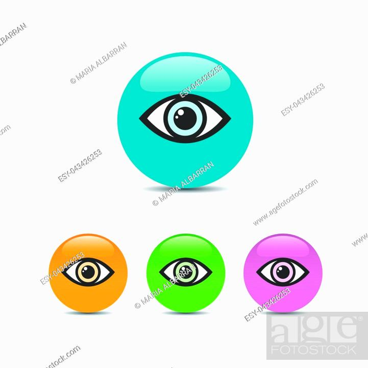 Vector: Eye icon set on a colored bubbles. Vector illustration.