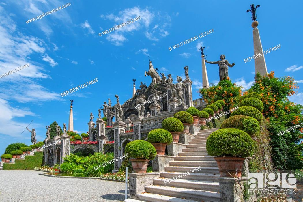 Stock Photo: The Baroque water theatre at the end of the garden overlooking the lake Maggiore, Isola Bella Italy.