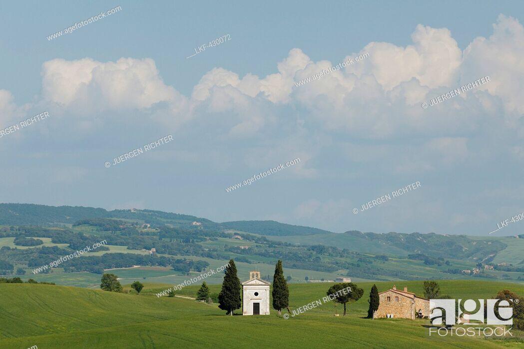 Stock Photo: Vitaleta chapel, Cappella di Vitaleta, cypresses, near Pienza, Val d'Orcia, Orcia valley, UNESCO World Heritage Site, province of Siena, Tuscany, Italy, Europe.
