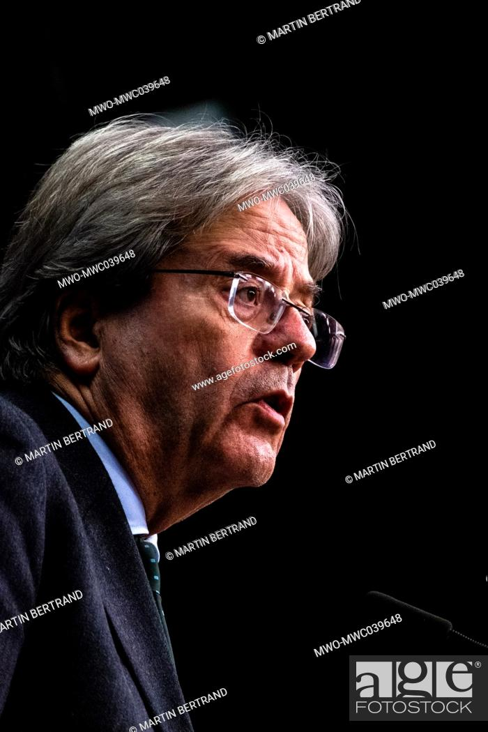 Photo de stock: Portrait of European Commissioner for economy and former Prime Minister of Italy, Paolo Gentiloni. Brussels. Belgium.