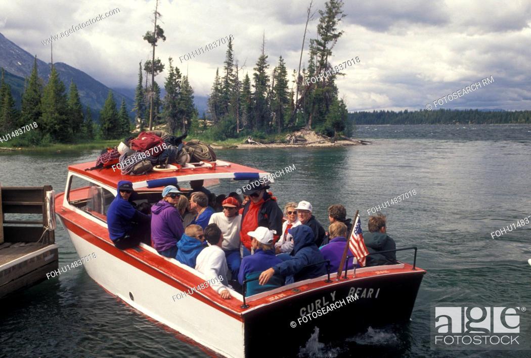 Stock Photo: Jenny Lake, Grand Teton National Park, WY, Jackson Hole, Wyoming, Boat excursion on Jenny Lake in Grand Teton Nat'l Park in Wyoming.