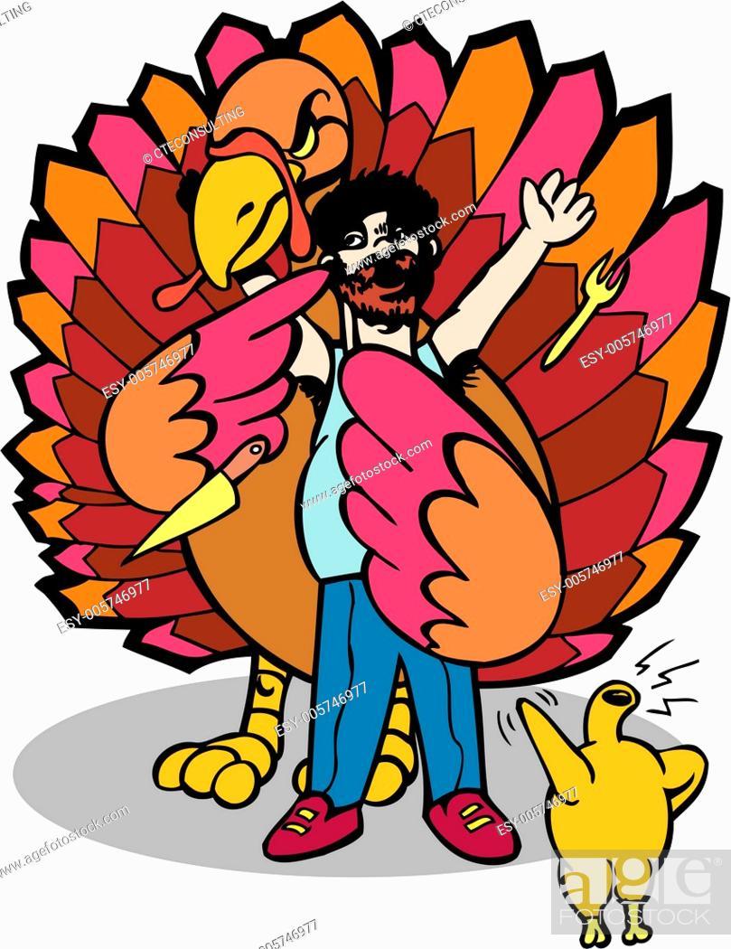 Stock Vector: Return of the Turkey King.