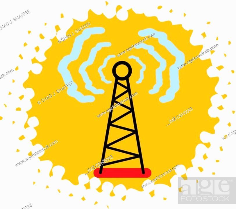 Stock Photo: A radio tower transmitting signals.