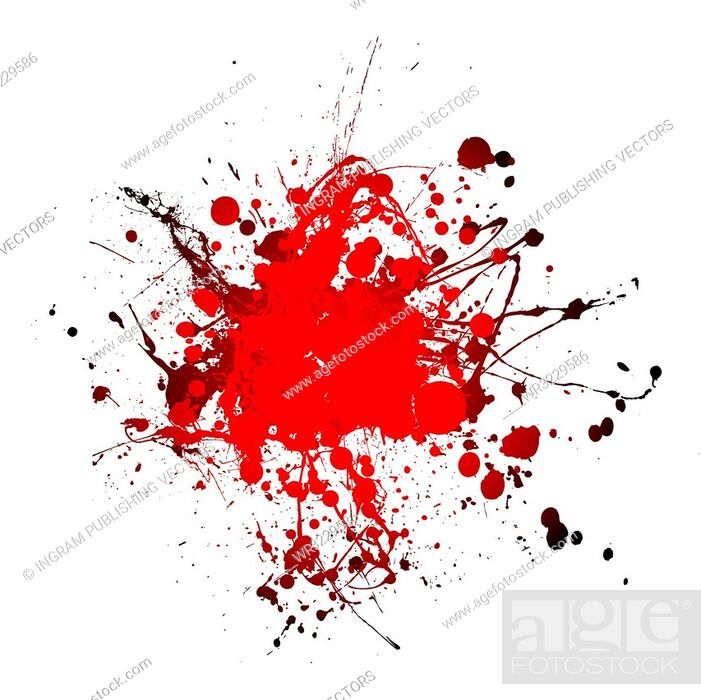 Vector: grunge blood ink splat abstract shape with room for text.