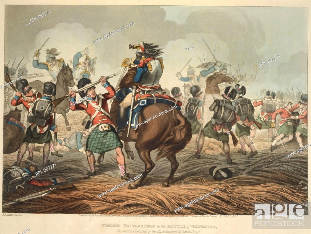 Stock Photo: French cuirassiers fighting Scottish infantry at the Battle of Waterloo. Image taken from Historic, Military, and Naval Anecdotes of particular incidents which.