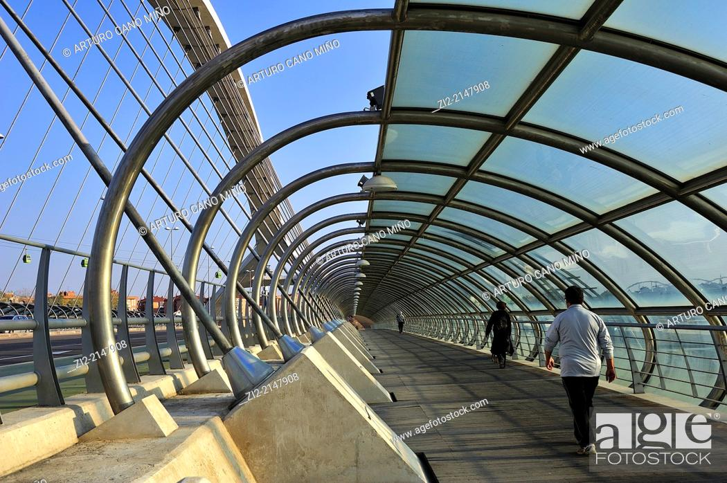 Stock Photo: Bridge of Third Millennium, formerly EXPO 2008. Zaragoza, Spain.