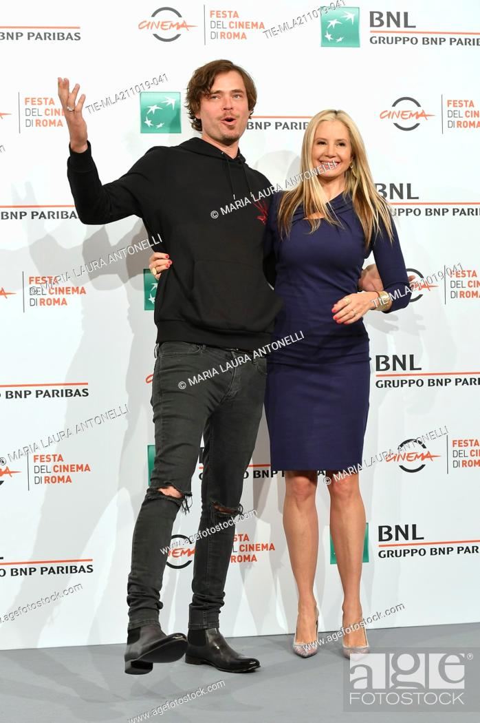 Stock Photo: Mira Sorvino and her husband Christopher Backus pose during the photocall for 'Drowing' at the 14th annual Rome Film Festival, in Rome, ITALY-20-10-2019.