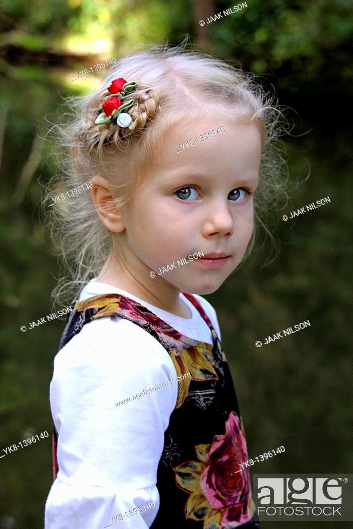 Stock Photo: Portrait of Three Year Old Well Dressed Caucasian Kid Girl.