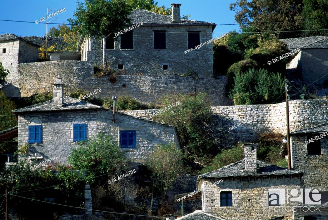 Stock Photo: Houses in Monodendri, Zagoria, Epirus, Greece.