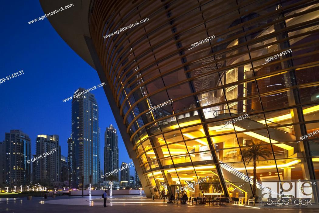 Stock Photo: The Dubai Opera House at twilight, designed by the Architects Atkins, Downtown Dubai, Dubai, Dubayy, United Arab Emirates.