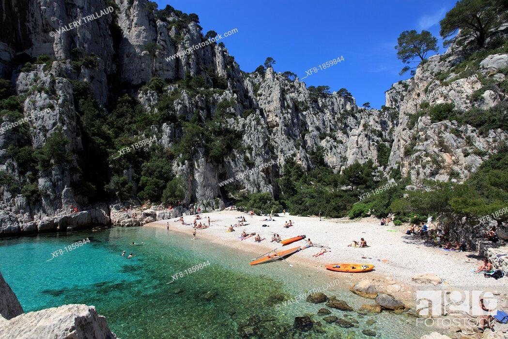 Stock Photo: France, Bouches Du Rhone, Cassis, Calanques Of En Vau, Beach Surrounded by Cliffs.