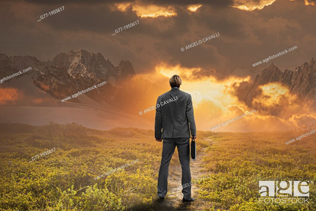 Stock Photo: Businessman watching sunset in a mountain range.