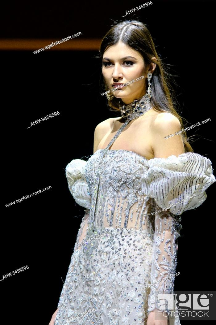 Stock Photo: PARIS, FRANCE - JANUARY 20: A model walks the runway during the Hany El Behairy Show As part of the Oriental Fashion show during the Paris Fashion Week on.